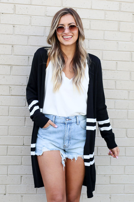 Black - Striped Longline Cardigan from Dress Up