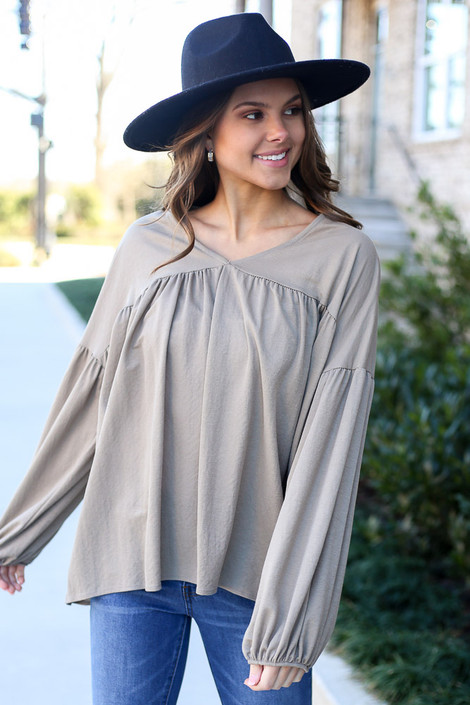 Taupe - Balloon Sleeve Babydoll Top from Dress Up