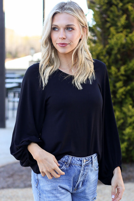Balloon Sleeve Top in Black from Dress Up