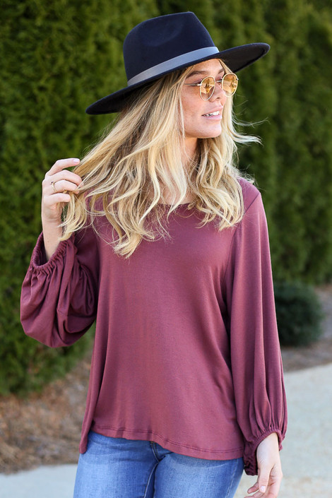 Marsala - Model wearing the Balloon Sleeve Top