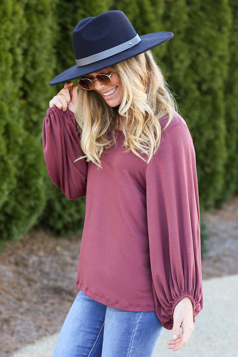Balloon Sleeve Top in Marsala Side View