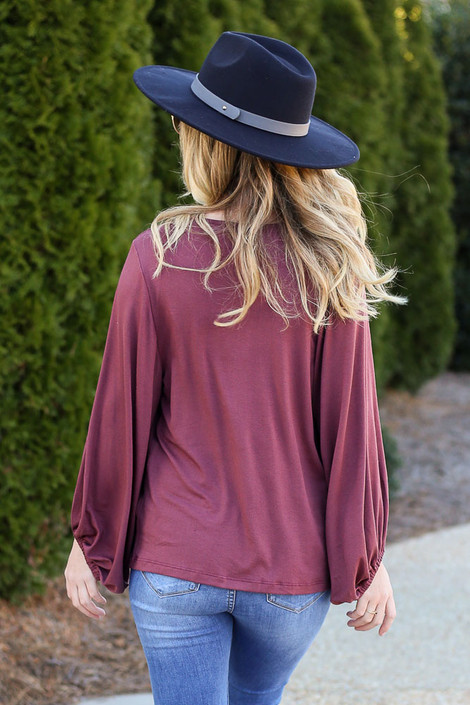 Marsala - Balloon Sleeve Top Back View