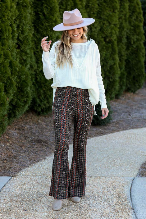 Rust - Print Knit Bell Bottom Pants