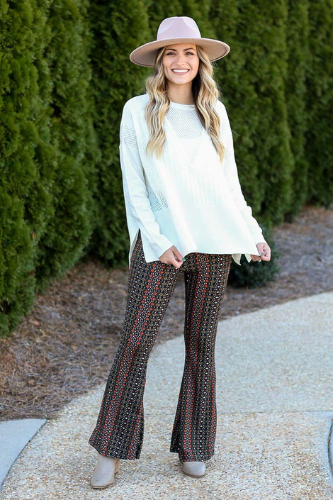 Rust - Print Knit Bell Bottom Pants from Dress Up