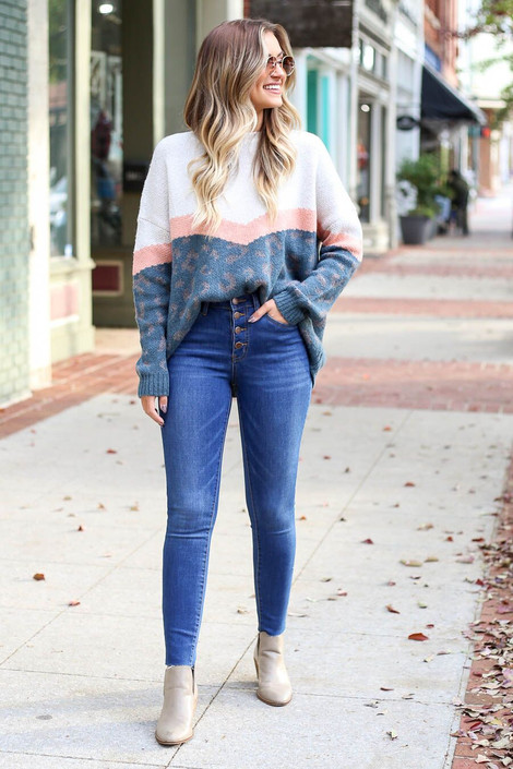 Dark Wash - High-Rise Button Front Skinny Jeans