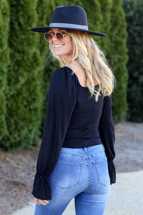 Flounce Sleeve Top in Black Back View