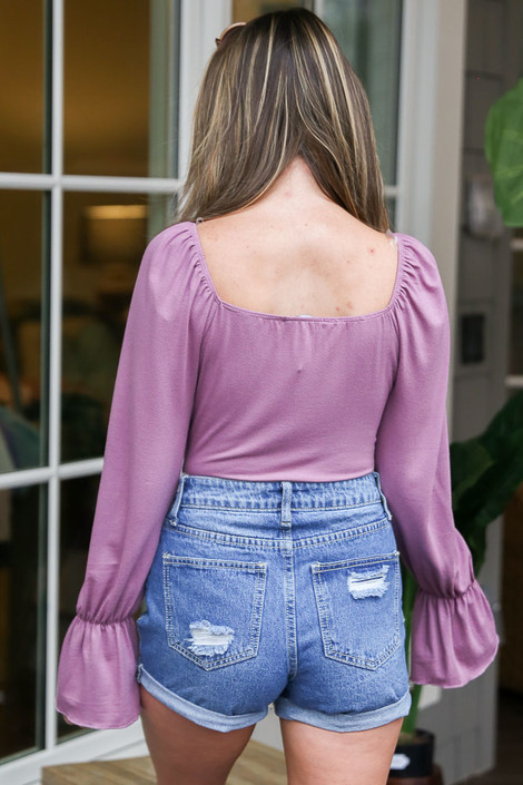 Flounce Sleeve Top In Lilac Back View