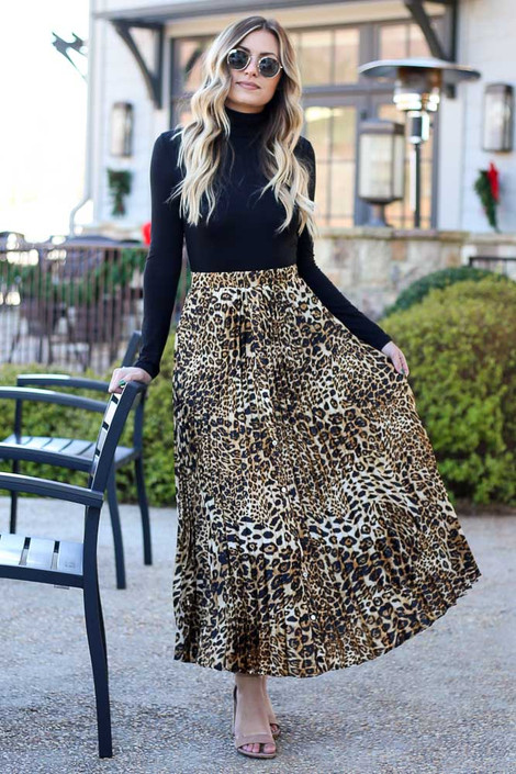 Leopard - Leopard Pleated Maxi Skirt