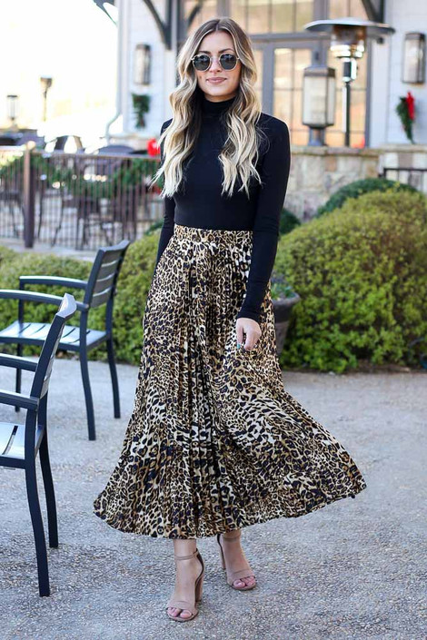 Leopard - Leopard Pleated Maxi Skirt from Dress Up