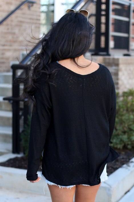 Black - Ribbed Knit Top Back View