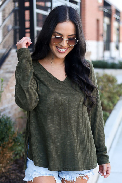 Olive - Ribbed Knit Top Front View