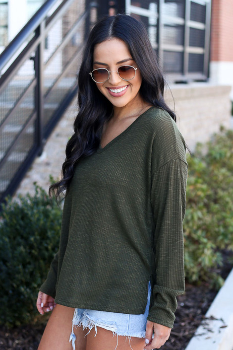 Olive - Ribbed Knit Top Side View
