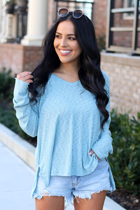 Mint - Model wearing the Ribbed Knit Top