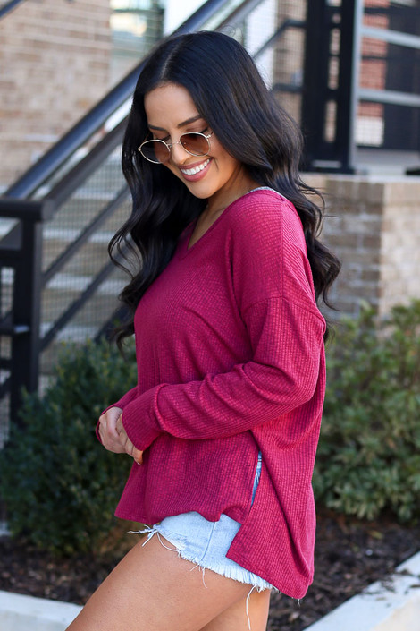 Burgundy - Ribbed Knit Top Side View