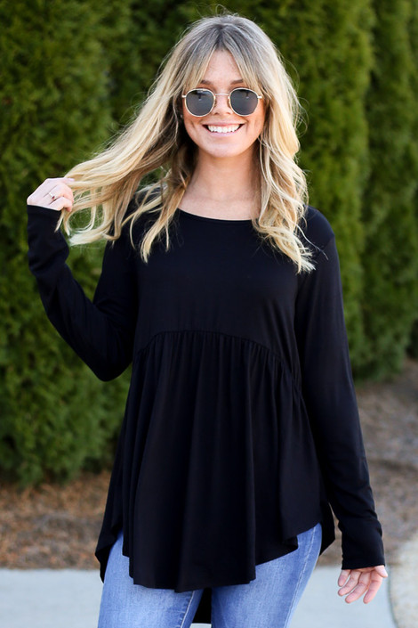 Black - Soft Knit Babydoll Top Front View