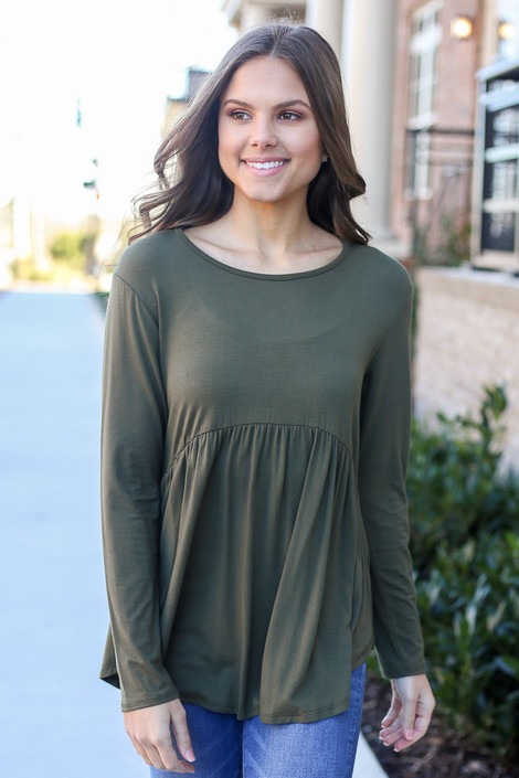 Olive - Model wearing the Soft Knit Babydoll Top