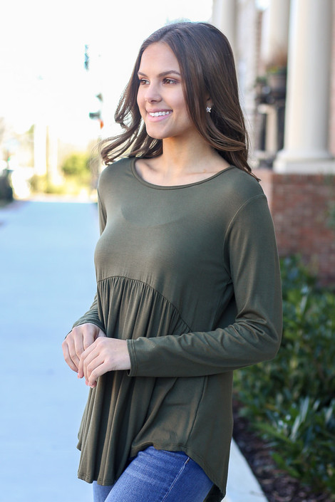 Olive - Soft Knit Babydoll Top Side View