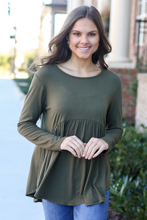 Soft Knit Babydoll Top in Olive Front View