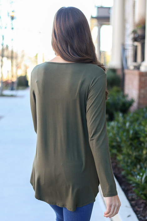 Soft Knit Babydoll Top in Olive Back View