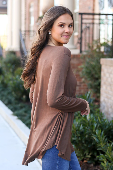 Soft Knit Babydoll Top in Brown Side View