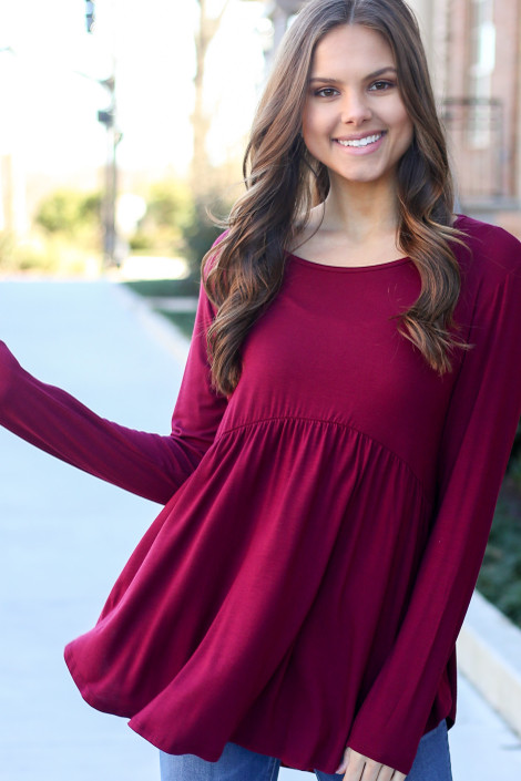 Burgundy - Soft Knit Babydoll Top