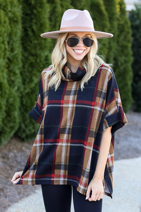 Navy - Plaid Cowl Neck Oversized Top
