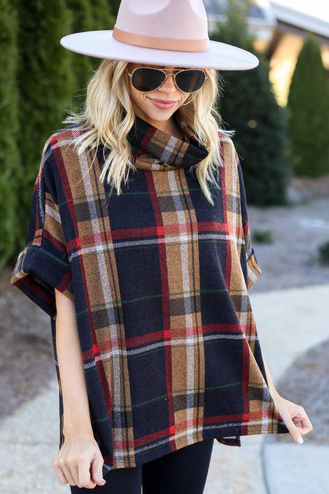 Navy - Plaid Cowl Neck Oversized Top from Dress Up