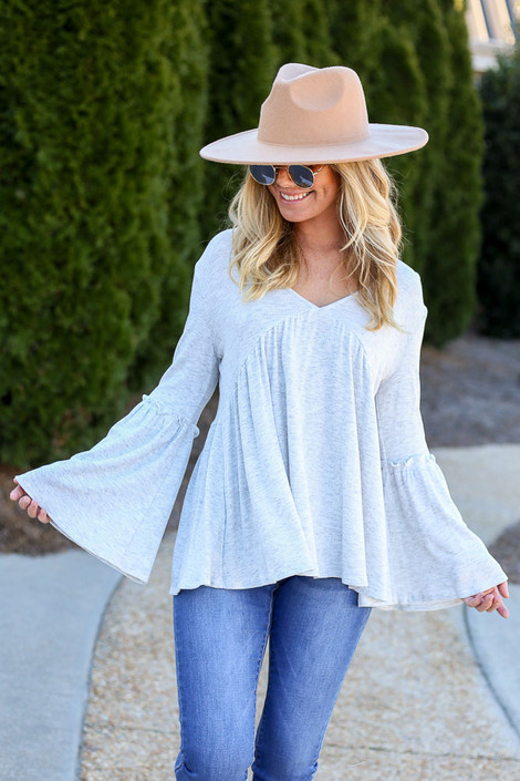 Heather Grey - Tie-Back Thermal Babydoll Top from Dress Up