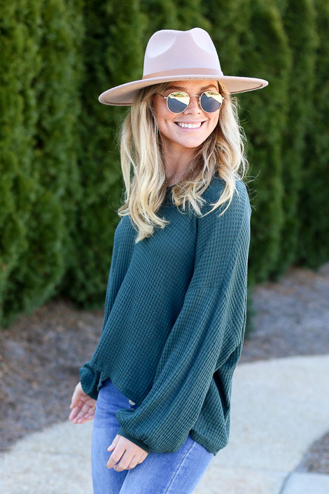 Model wearing the Oversized Waffle Knit V-Neck Top