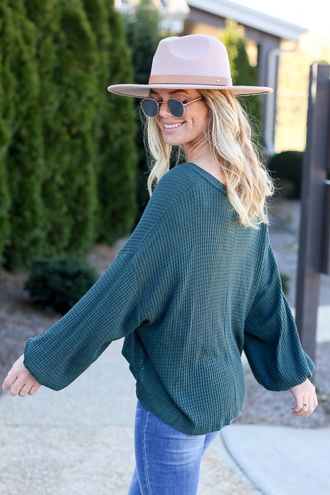 Oversized Waffle Knit V-Neck Top Side View
