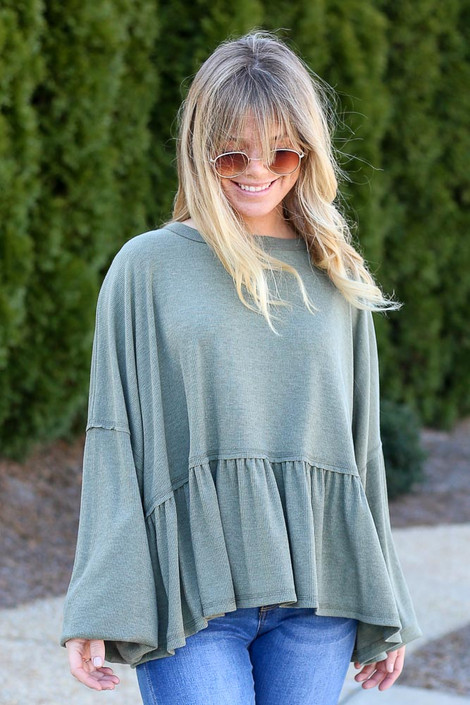 Olive - Balloon Sleeve Oversized Babydoll Top