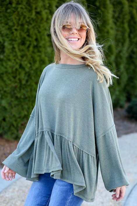 Dress Up model wearing the Balloon Sleeve Oversized Babydoll Top