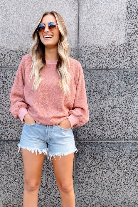 Mauve - Sherpa Teddy Pullover Sweater from Dress Up