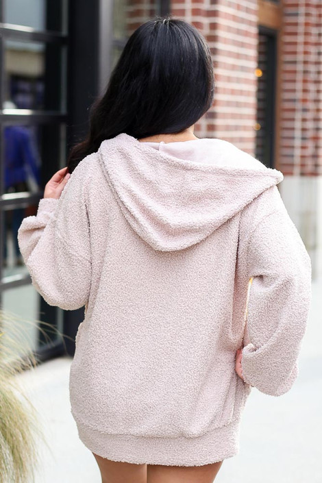 Sherpa Teddy Zip Up Hoodie Jacket in Taupe Back View