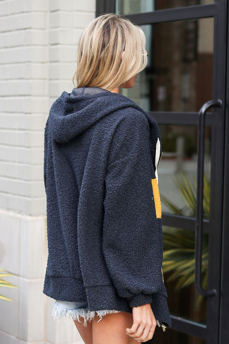 Sherpa Teddy Zip Up Hoodie Jacket in Charcoal Back View