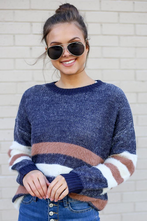 Blue - Striped Eyelash Knit Sweater from Dress Up