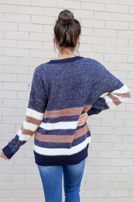 Striped Eyelash Knit Sweater Back View
