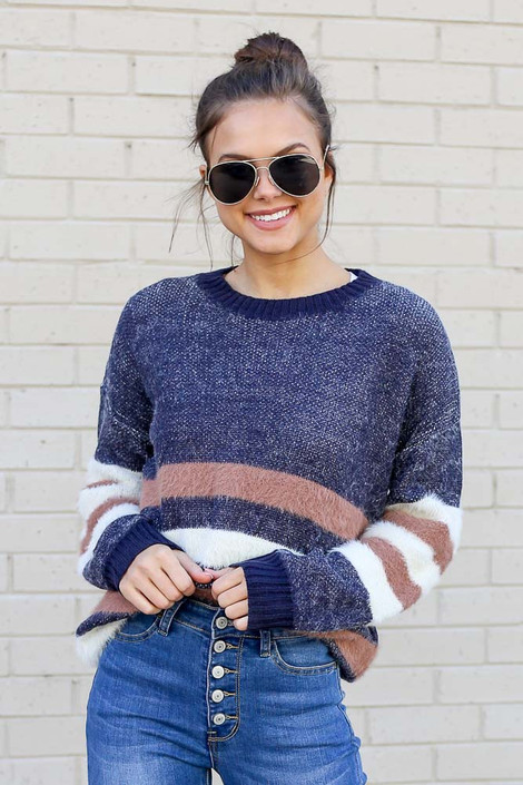 Model wearing the Striped Eyelash Knit Sweater tucked into skinny jeans Close Up