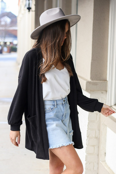 Black - Brushed Knit Ribbed Balloon Sleeve Cardigan Side View
