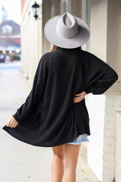 Brushed Knit Ribbed Balloon Sleeve Cardigan in Black Back View