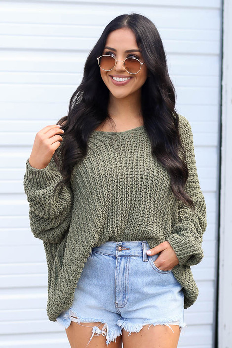 Olive - Dress Up model wearing the Oversized Chenille Sweater