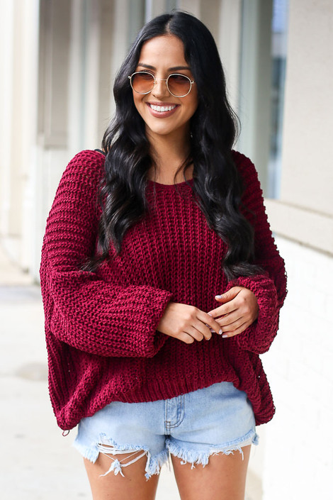 Burgundy - Front View of the Oversized Chenille Sweater