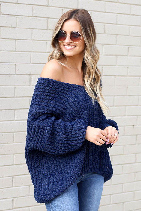 Oversized Chenille Sweater in Navy Side View