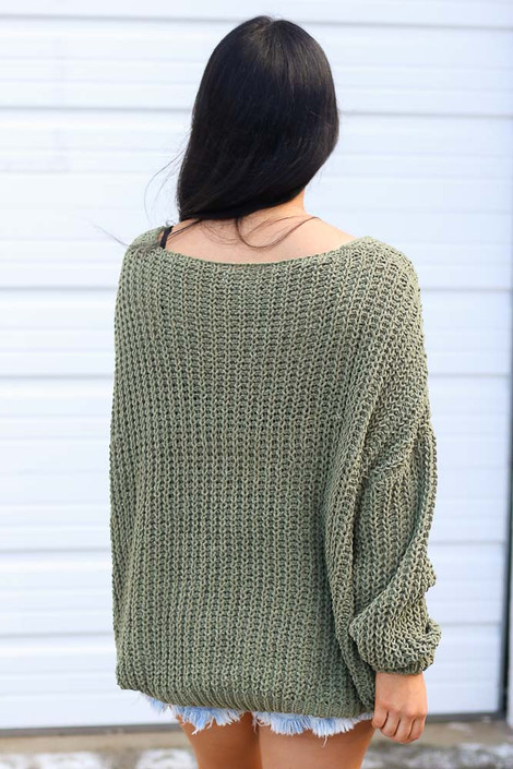 Oversized Chenille Sweater in Olive Back View