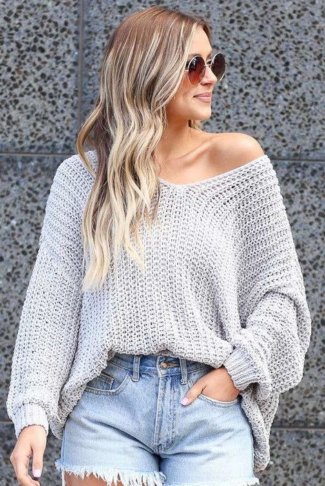 Grey - Oversized Chenille Sweater
