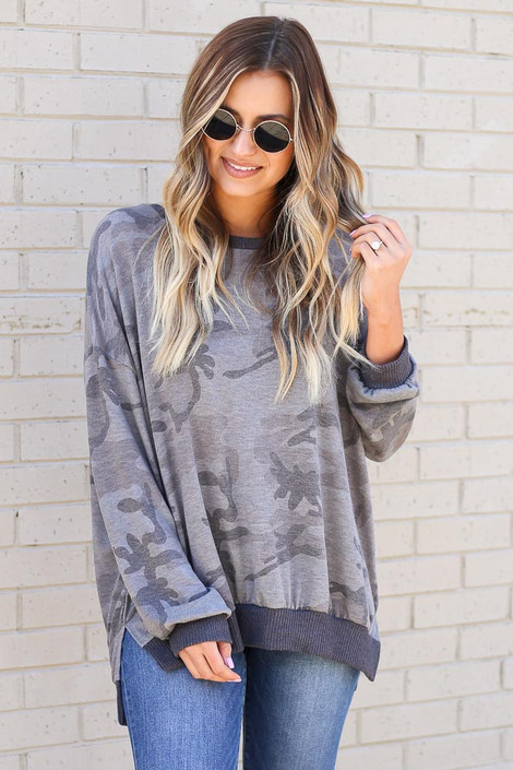 Camo - Oversized Lightweight Knit Pullover