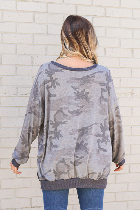 Oversized Lightweight Knit Pullover Back View