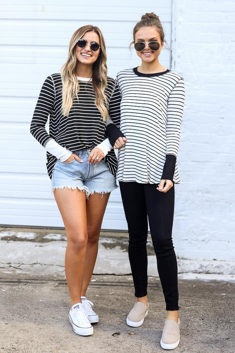 Black - Striped Ribbed Knit Top