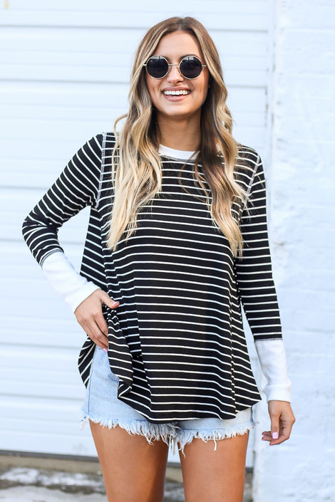 Black - Striped Ribbed Knit Top from Dress Up