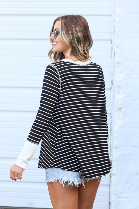 Striped Ribbed Knit Top Back View